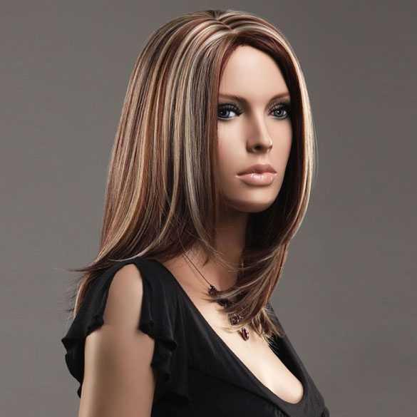Luxe pruik steil haar schouderlang 3 kleurstrengen