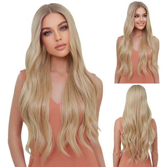 Swiss lace pruik lang blond haar zonder pony model Brenda